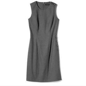 BANANA REPUBLIC GRAY SIDE BUTTON SHEATH DRESS